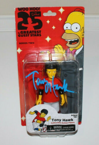 TONY HAWK SIGNED THE SIMPSONS ACTION TOY FIGURE NECA SERIES 2 w/COA EXACT PROOF