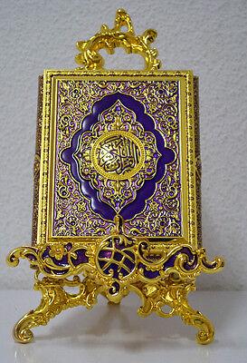 Islam-Koran-sunnah-Koranständer 2 teilig aus Metall Lila und Gold