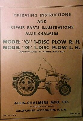 Allis Chalmers Agri Farm Tractor G 1-disc Plow R.h L.h Owner Parts Manual
