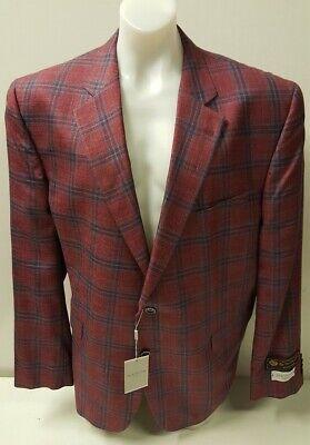 NEW Jack Victor Luxor Red Plaid Sport Coat Suit Jacket Blazer 50R/48L RRP £830