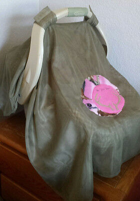 Car Seat Infant Canopy Mosquito Netting Mossy Green & Pink C