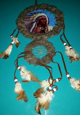 """Dream catcher Indian chief with headdress 16"""""""