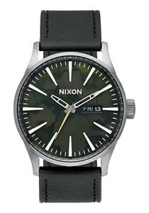 Brand New Nixon Sentry Leather Gunmetal Green Oxide