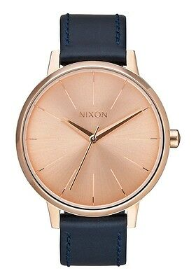 New Nixon Kensington Rose Dial Navy Leather Strap Women's Watch A1082160