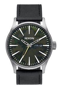 Brand New Nixon Sentry Leather Gunmetal Green Oxide