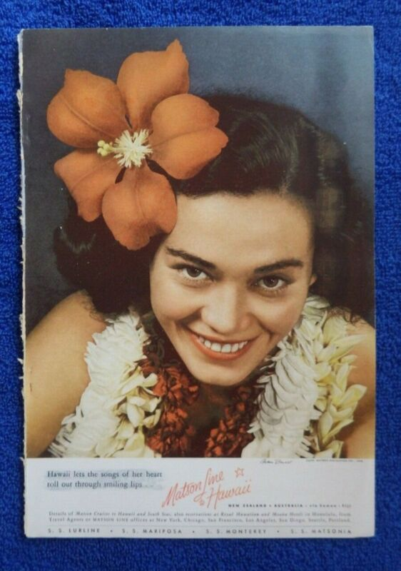 Vintage 1938 Hawaiian Matson Line Ships Lurline Hawaii Travel Advertisement Oahu