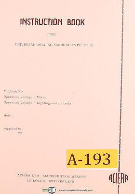 Parts Drawings /& Test Charts Manual Aciera Type F3 Milling Machine