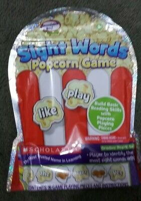NEW! 2013 Scholastic POPCORN GAME Sight Words, Basic Reading Skills PRE-K to 1