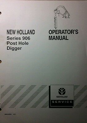 New Holland 906 Post Hole Digger 3-point Operator Parts Manual 28pg Tractor Nh