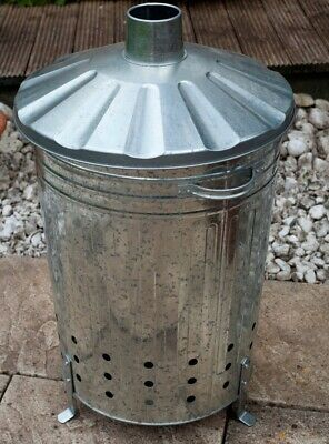🇬🇧 125 L LARGE Garden Fire Incinerator Galvanised Metal Rubbish Burner Bin 🔥