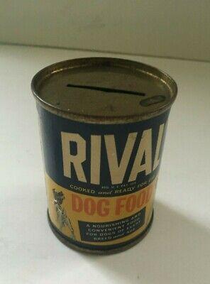 Vintage 1950's Rival Dog Food Tin Bank Cite Dog Image Advertising Promo