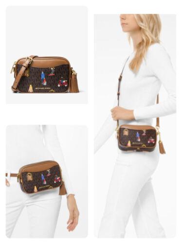 Michael Kors Jet Set Girls Camera Convertible Belt Crossbody Bag in Brown PVC