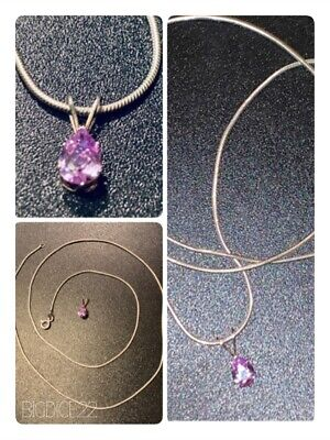 """Italy 925 Sterling Silver 22"""" Snake Chain Necklace W/ Amethyst Teardrop Pendent"""