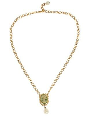 NEW DOLCE & GABBANA Necklace Gold Brass Pearl Floral Crystal Resin Chain