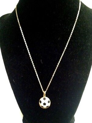 NEW_Gold Plated SOCCER Ball NECKLACE_Pendant_Adjustable Gold Chain_Lobster Clasp
