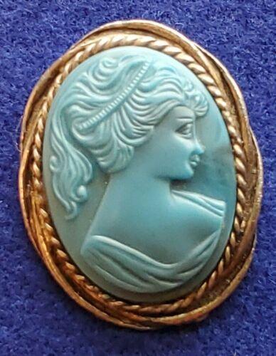Vintage Blue Cameo Brooch Pin Pendant