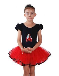 NUOVO-ragazze-nere-e-rosso-Balletto-Danza-Vestito-a-tutu-4-5-anni