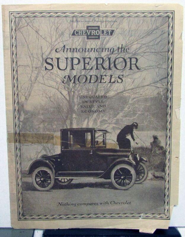 1923 Chevrolet Superior Car Models Sales Folder Original With FOBs & Specs