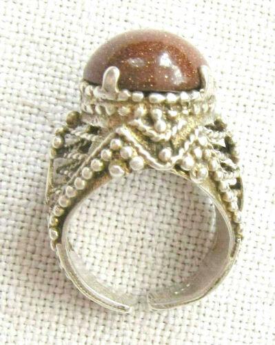 Yemenite vintage gilt filigree silver sterling 925 bridal ring w/ sun stone