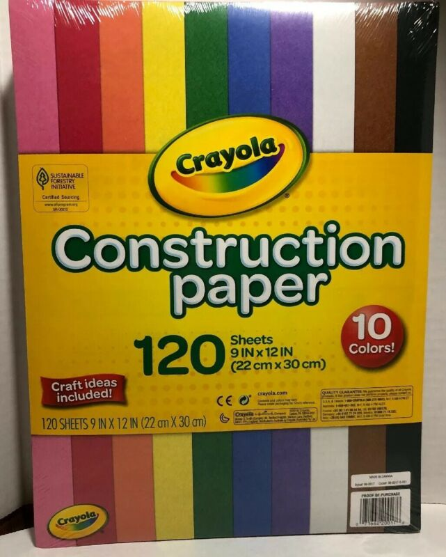 Crayola Construction Paper 120 Sheets 10 Colors New