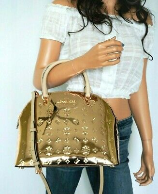 NWT Michael Kors Emmy Dome Large Mirror Metallic Satchel Shoulder Bag Rose Gold