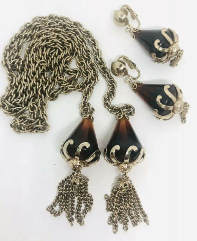 Chunky Root Beer Lucite Lariat Necklace and Earrings Demi Vintage Jewelry