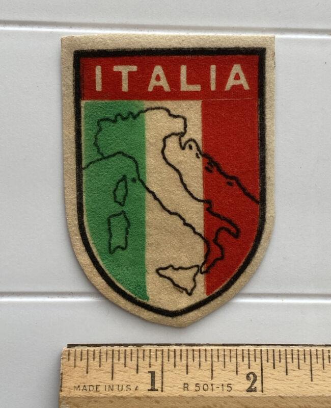 Vintage Italia Map Outline Italian Flag Souvenir Printed Fabric Patch Badge