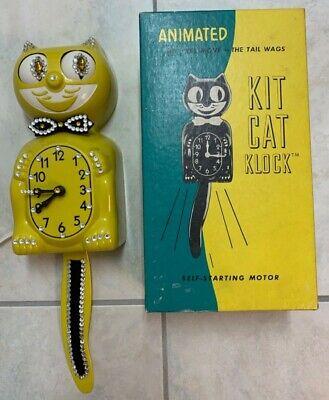 Restored Kit Cat Klock Kit Kat Clock Yellow Jeweled Vintage Electric WITH BOX