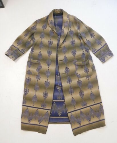 Vintage 40s Beacon Robe Art Deco Ombre Pattern Blue Green Shadow Plaid Large