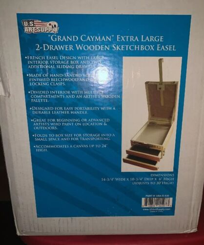 US Art Supply GRAND CAYMAN Extra Large 2-Drawer Wooden Sketc
