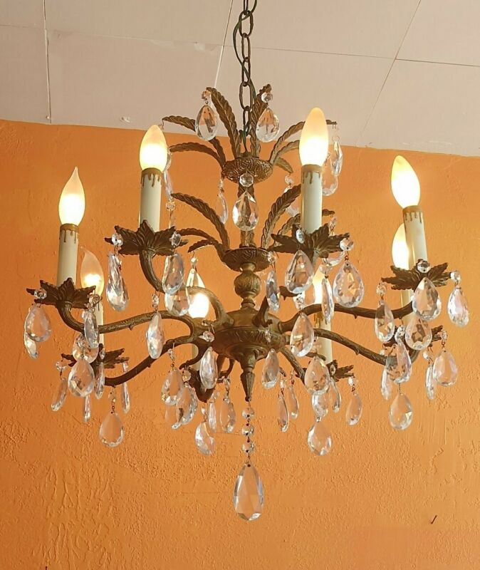 Antique Ornate Spanish Brass Chandelier 8 arms Lots of prisms