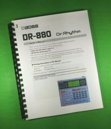 """BOSS DR-880 Dr. Rhythm owners Manual 168 Pages 8.5X11"""" With Clear Covers!"""