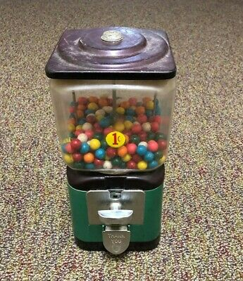 VINTAGE GREEN ONE PENNY GUM BALL MACHINE , ACORN, ORIGINAL GUM BALLS NOT TO EAT