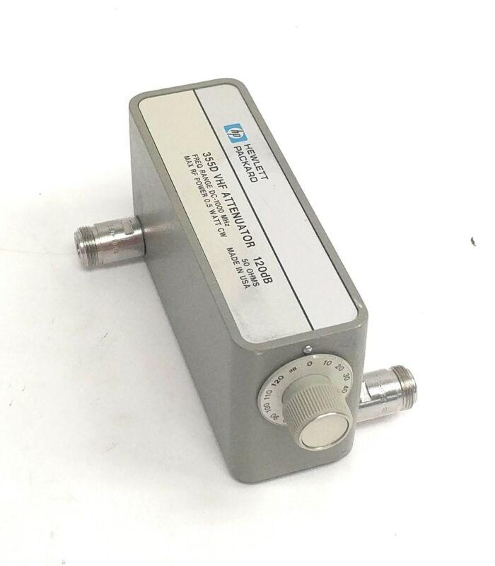 Vintage HP 355D VHF Attenuator 120dB DC - 1000MHz 10dB Steps with Option 1, N