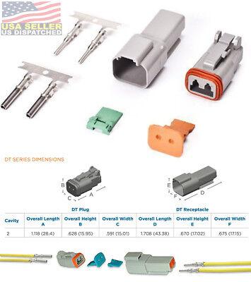 Deutsch 2-pin Connector Housing Pins Seals Crimp Terminals14-16 Awg