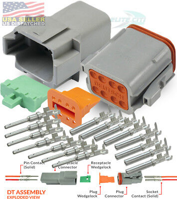 Deutsch 8-pin Connector Grey Pins Seals Crimp Terminals14-16 Awg