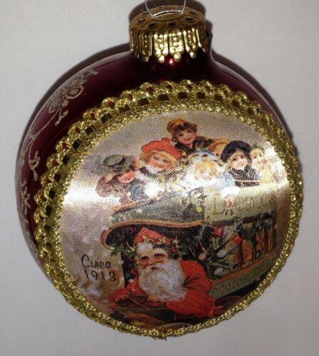 Vintage Christmas Tree Ornament Krebs SANTA ON SILK CIRCA 1913 Trolley Glass