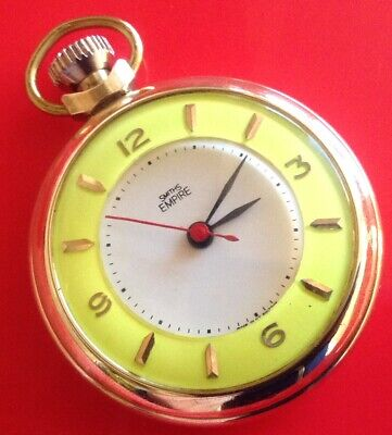 V.RARE SMITHS EMPIRE POCKET WATCH WITH YELLOW ZONE IN A GOLD GILT CASE STUNNING