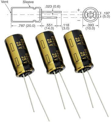 3x Panasonic Fm 680uf 25v Low-esr Radial Capacitors 5000hrs 105c 10x20 Mm