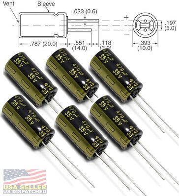 6x Panasonic Fm 470uf 35v Low-esr Radial Capacitors 5000 Hrs 105c 10mm 10x20