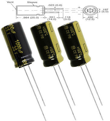3x Panasonic Fm 1000uf 35v Low-esr Radial Capacitors 7000 Hrs 105c