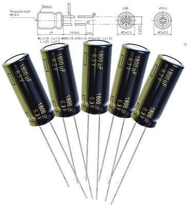 5x Panasonic Fc 1800uf 6.3v Radial Aluminum Capacitors 3000hrs 105c 10 X 25mm