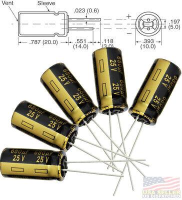 5x Panasonic Fm 680uf 25v Low-esr Radial Capacitors 5000hrs 105c 10x20 Mm