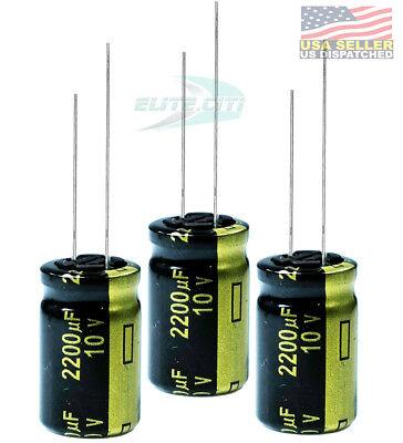 5PCS 10V 2200uF 10Volt 2200MFD Electrolytic Capacitor 10×16