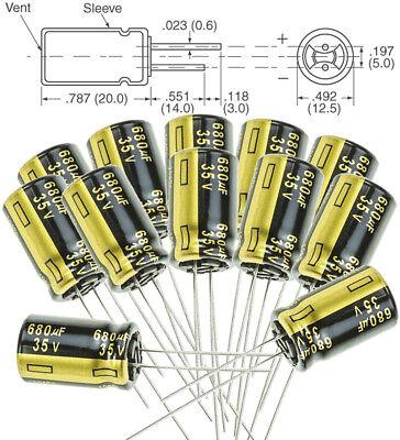 12x Panasonic Fm 680uf 35v Low-esr Radial Capacitors 5000hrs 105c12.5x25 Mm