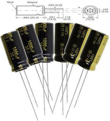 6pc Panasonic Fm 1000uf 35v Low-esr Radial Capacitors 7000 Hrs 105c Eeu-fm1v10