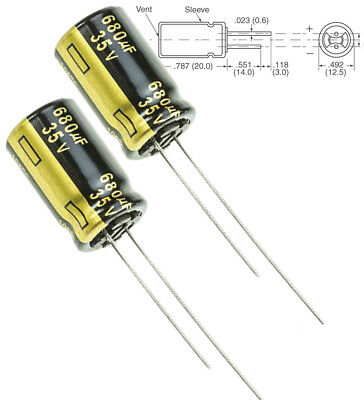 2x Panasonic Fm 680uf 35v Low-esr Radial Capacitors 5000hrs 105c 12.5x25mm