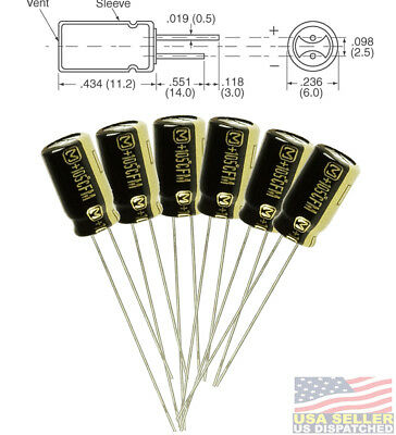 6pcs Panasonic Fm 100uf 25v 20 Radial Capacitors Leaded 105c 6.3 X 11.2mm