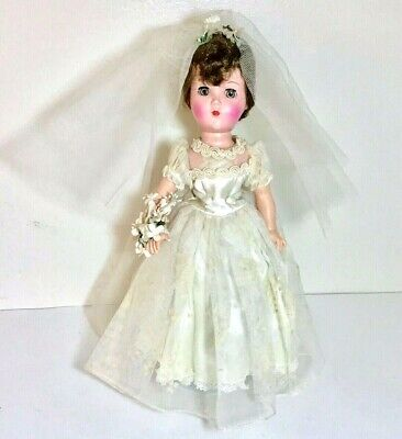 "VINTAGE ARRANBEE R&B 14"" BRIDE DOLL FROM THE 1950'S, VEIL, BOUQUET, PEARLS"