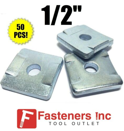 """(QTY 50) 1/2"""" Square Washers w/ Guides for Unistrut Channel B-Line #4608 P2864"""